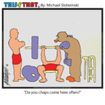 Old Timer at Gym Weightlifting Bench press Dumbells This-and-That Cartoons Daily Comic Strip Funny Web-Comic Web-Cartoon Slotwinski Cartoons Comics